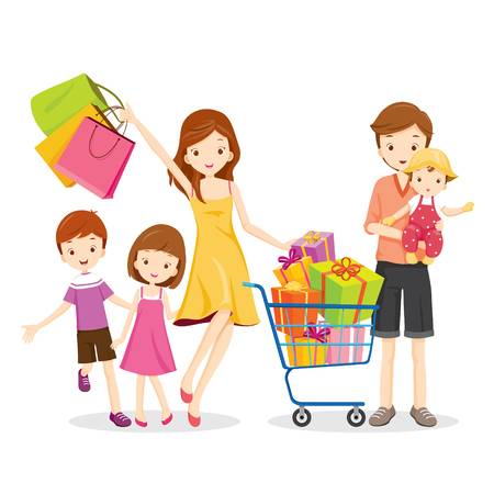 54343461-stock-vector-family-shopping-and-gift-box-in-shopping-cart-goods-celebration-lifestyle-relationship-togetherness